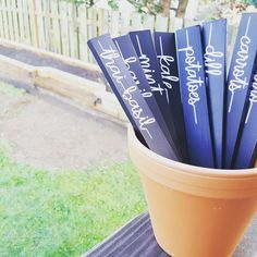 DIY Veggie Garden Markers | Plant Stakes | Cameo Silhouette printed labels on painted wood sticks