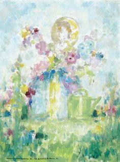 Jean Adrien MERCIER Jeune fille aux fleurs Gouache 40 x 29,5 cm Signé&
