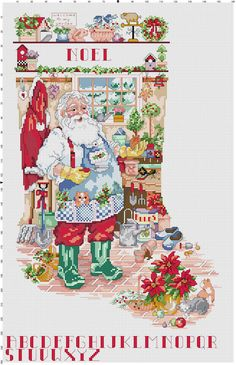 Cross-stitch Christmas Stocking ... no color chart available, just use pattern chart as your color guide.. or choose your own colors...