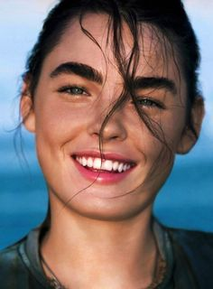Bambi Northwood-Blyth is stunning in this natural beach shoot. // Beach Beauty Inspiration From Marie Claire UK