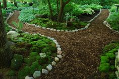 , Dales Moosgarten in Waukesha, WI. , Dales Moosgarten in Waukesha, WI Forest Garden, Woodland Garden, Garden In The Woods, Garden Edging, Garden Paths, Herb Garden, Wood Path, Landscape Design, Path Design