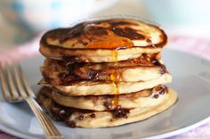 Peanut Butter & Chocolate Chip Pancakes