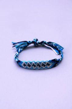 Blue Multicolored Threaded Center Braided Bracelet