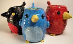 Bird cup elementary art lesson ceramics project pinch pot birds