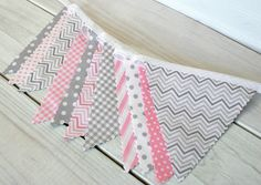 Baby Bunting Fabric Banner Fabric Flags  - Light Pink and Gray Chevron Dots Gingham - Ready to Ship.