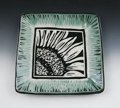 Sgraffito Sunflower Plate #plate #ceramic #flowers