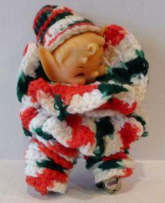 "Vintage Elf Doll Crochet Mid Century Jingle Bell Craft 7"" Rubber Head"
