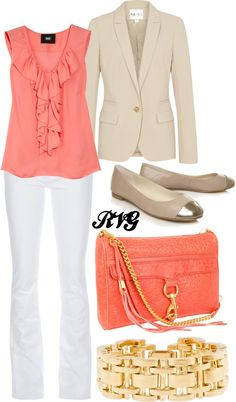 """Coral & Gold"" by r-viviane16 on Polyvore"