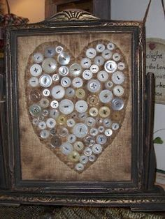 Stained Fabric With Old Buttons...in an old stand frame.  Kathy Givens, My Country Heart.