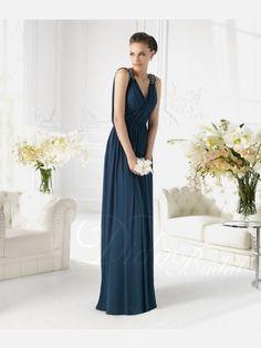 Beaded A-line V-neck Floor-length Prom Dress