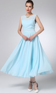 Light blue chiffon dress maxi prom dress women dress by xiaolizi