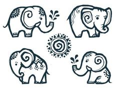 Illustration of Cute little doodle elephants in Indian style vector art, clipart and stock vectors. Henna Elephant, Elephant Love, Elephant Art, Indian Elephant Tattoos, Little Elephant Tattoos, Art Drawings For Kids, Doodle Drawings, Elephant Drawing For Kids, Elephant Drawings