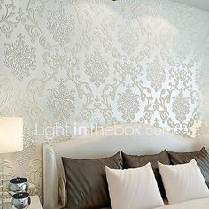Damask Wallpaper Living Room Stencils New Ideas Brown Master Bedroom, Living Room Bedroom, Living Room Decor, Bedroom Decor, Master Bedrooms, Wall Decor, Wall Art, Damask Wallpaper Living Room, Accent Walls In Living Room