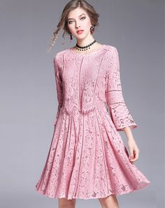 Shop LVENZSE Pink Bell Sleeve Cotton Lace Sheath Dress online❤️ VIPme.com offers quality Sheath Dresses from fashion designers at affordable prices.