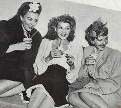 Ginny Simms,Rita Hayworth and Mary Martin at the Hollywood Canteen