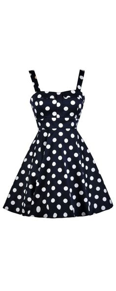 Lily Boutique Cheerful Polka Dots Navy and White Printed Fit and Flare Dress