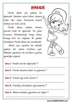 OKUMA ANLAMA METNİ – HANDE - Seyit Ahmet Uzun – Eğitime Yeni Bir Bakış