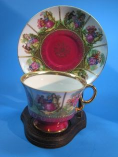 Victorian Couple Lovers Tea Cup Saucer Set Burgundy Y G1169 Vintage Mothers Day | eBay