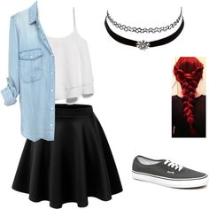 Cute and edgy school outfit by morganplante on Polyvore featuring polyvore, fashion, style, MANGO, LE3NO, Vans, Charlotte Russe and clothing