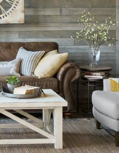 Love this light and airy farmhouse living room with rustic gray walls and brown sofa. Brown Leather Couch Living Room, Grey And Brown Living Room, Living Room Decor Brown Couch, Beige Couch, Living Room Remodel, Home Living Room, Living Room Color Schemes, Living Room Designs, French Country Living Room