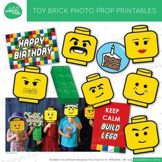Printable Toy Brick 'Lego Inspired' Photo Props by adelphimou