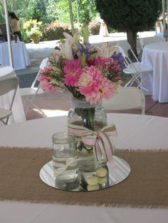 Burlap runner, mirror tile, mason jars, candles, flowers & ribbon!!