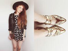 Romwe Leather Jacket, Choies See Through Bag, Choies Golden Sandals, Siren London Via Flower Dress