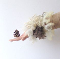 Felted cuff  fur Grey white wool locks rustic by galafilc on Etsy...fun cuff bracelet!
