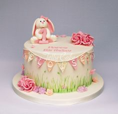 Image result for bunting and floral cakes