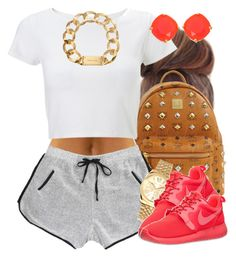 """Bright Roshes."" by livelifefreelyy ❤ liked on Polyvore featuring MCM, Lipsy, Michael Kors, NIKE and Kate Spade"