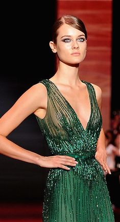Zuhair Murad.  Emerald green. What would I give to be famous enough to afford stuff like this for the red carpet? Everything.