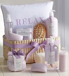 gift idea full of homemade soaps, lotions, etc.