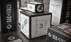 black and white letterpress packaging