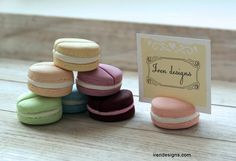 Set of 8 Place Card Holders. Polymer Clay made to look like macaroons! Would be so great for escort cards for a vintage or french inspired event