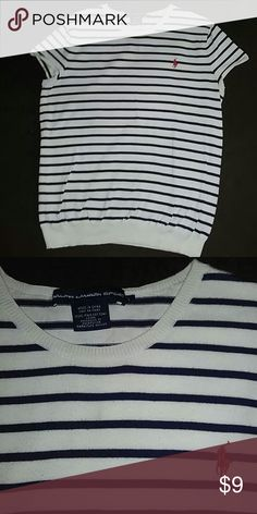 Ralph Lauren Sport Knit Top Navy Blue Stripes on White. Used but no signs of wear. In very good condition! Ralph Lauren Sport Tops Blouses
