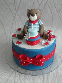 Teddy Bear Cakes, Baby Cakes, Yummy Cakes, Birthday Cake, Kids, Wedding, Pastries, Cold Porcelain, Conch Fritters