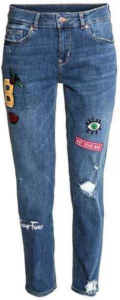 H&M - Boyfriend Regular Jeans - Denim blue - Ladies