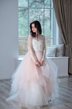 Tulle Wedding Skirt, Bridal Skirts, Tulle Skirts, Colored Wedding Dresses, Bridal Tops, Bridal Lace, Bridal Corset, Blush Bridal, Two Piece Wedding Dress
