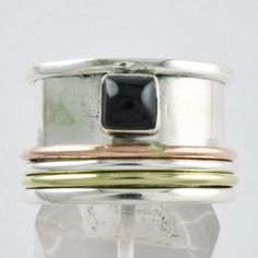 BLACK ONYX STONE TRIPLE BAND 925 STERLING SILVER SPINNER RING S.9 US,R3881 #SilvexImagesIndiaPvtLtd #Spinner