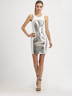 Milly Metallic Leather-Trim Dress