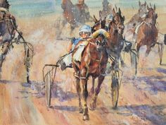 "Harness racing - the passion of my father's family for three generations  ""Go"" watercolour of the start of a Harness race in North Sydney"
