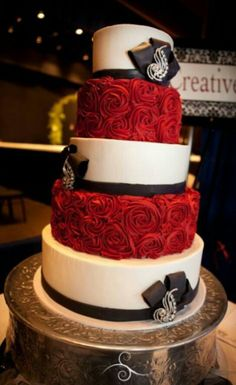 Beautiful red, black and white cake!