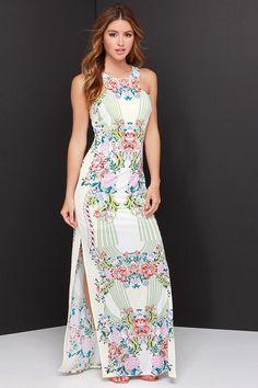 Tropi-Cali Livin' Cream Mirror Print Maxi Dress at Lulus.com!