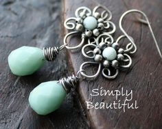 Earrings Amazonite Silver ~ I love the shape of these. It's like handmade filigree!