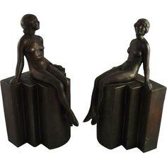 Art Deco Bookends Nude on Pedestal