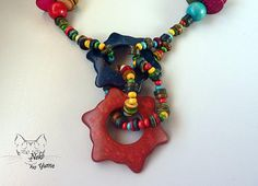 Handmade Necklace Ecological, multi colors beads necklace