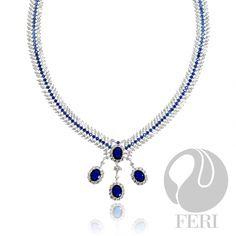 FERI - Royal Glamour - Necklace Pendant Necklace, Diamond, Silver, Glamour, Jewelry, Design, Blue, Jewlery, Money