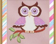 Counted Cross Stitch Pattern Purple Hoot Owl - Instant Download PdF - StitchX