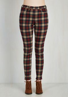 Slow and Edgy Wins the Race Pants - Black, Red, Blue, Tan / Cream, Plaid, Casual, 90s, Scholastic/Collegiate, Tapered Leg, Fall, Variation, Ankle