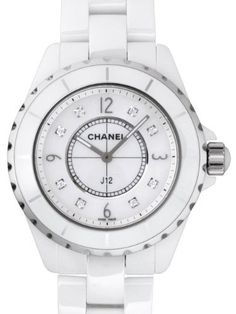 White ceramic case with a white ceramic bracelet. Uni-directional rotating steel rimmed white ceramic bezel. Mother of pearl dial with silver-tone hands and diamond hour markers. Arabic numerals mark ...